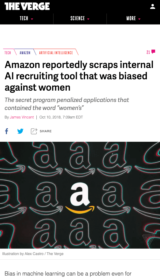 Screenshot of article on TheVerge with the title
