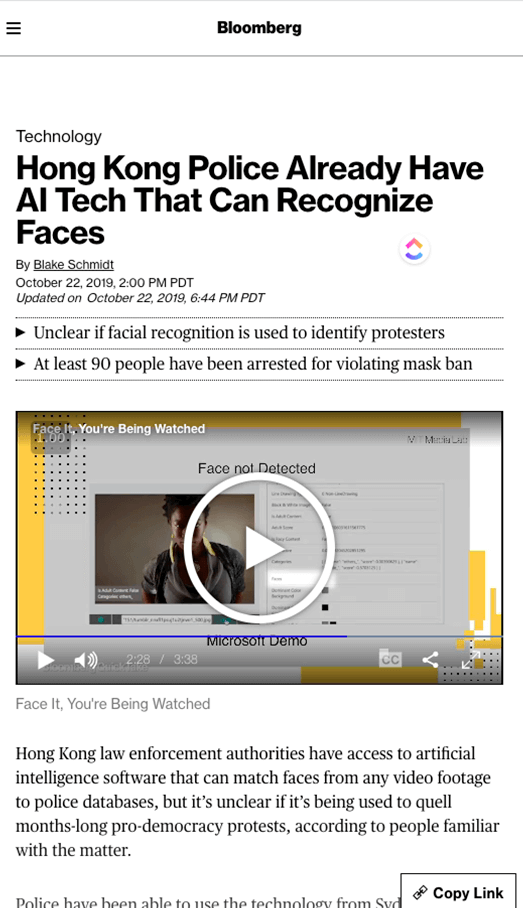 Screenshot of article on Bloomberg with the title